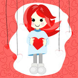 Girl with red hair and heart Royalty Free Stock Photography