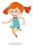 Girl with red hair jumping. Illustration Stock Photo