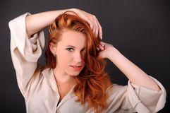 Girl, red hair. Girl with red hair, portrait, face stock photo