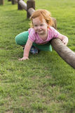 Girl red hair smiling outdoors Royalty Free Stock Photography
