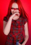 Girl with red hair and a sword Stock Photos