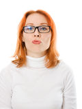 Girl with red hair wearing glasses Royalty Free Stock Photo