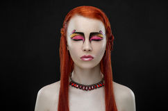 Girl red hair yellow rose makeup Stock Photos