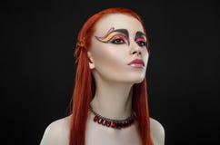 Girl red hair yellow rose makeup Stock Image