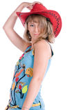 Girl in red hat Stock Images