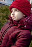 Girl with red hat. At autumn Stock Photo