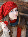 Girl with red hat Royalty Free Stock Image