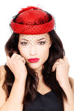 Girl with red hat Royalty Free Stock Photos