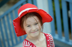 Girl with red hat Royalty Free Stock Photography