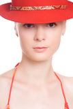 The girl in a red hat Royalty Free Stock Photos