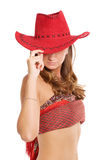 Girl in red hat Stock Image