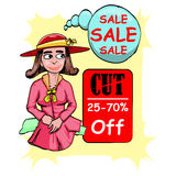 Girl with red hat on big sale event Royalty Free Stock Images