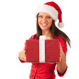 Girl in red hat and dress with present Royalty Free Stock Image