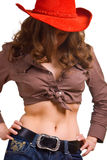 Girl in a red hat and jeans Stock Image