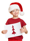 Girl in red hat with letter to santa - winter holiday christmas concept Stock Photos