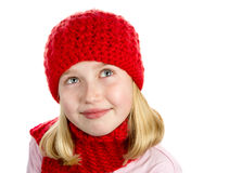 Girl in Red Hat and Scarf Stock Photography