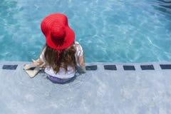 Girl Red Hat Swim Pool Stock Photo