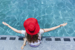 Girl Red Hat Swim Pool Royalty Free Stock Photo