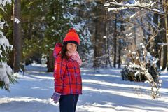 Girl in a red hat for a walk in the woods on a snowy winter d royalty free stock image