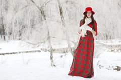 Girl in a red hat Royalty Free Stock Photography