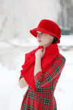 Girl in a red hat Royalty Free Stock Photo