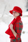 Girl in a red hat Royalty Free Stock Photos