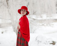Girl in a red hat Stock Photo