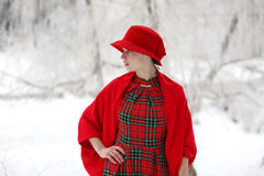 Girl in a red hat Royalty Free Stock Image