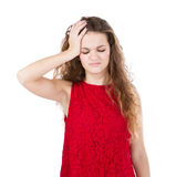 Girl in red headache Royalty Free Stock Photography