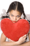 Girl & Red Heart Stock Photos