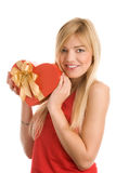 Girl with red heart Stock Photography