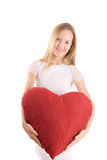 Girl with red heart Stock Image