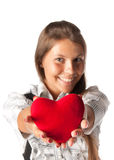 Girl with red heart in hands Stock Photography