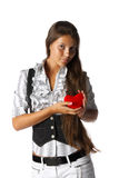 Girl with red heart in hands Royalty Free Stock Images