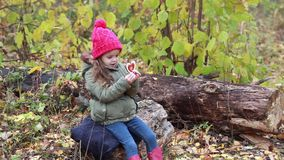 Girl with a red heart on the nature of the autumn forest stock footage
