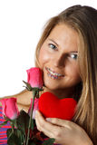 Girl with red heart and roses Stock Photography