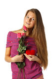 Girl with red heart and roses Royalty Free Stock Photography