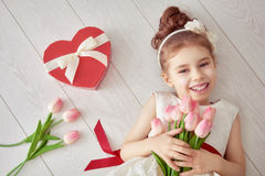 Girl with red heart Royalty Free Stock Images