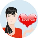 Girl with red heart: valentines day illustration Royalty Free Stock Photos