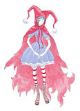 Girl in red hood. Drawing of girl in red hood. Carnival costume Royalty Free Stock Image
