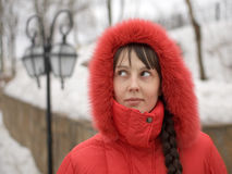 Girl in Red Hood. Winter Girl in Red Hood Outdoors Royalty Free Stock Photo