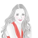 Girl in red. The image with girl in red vector illustration