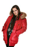 The girl in a red jacket Royalty Free Stock Images