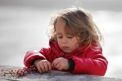 Girl Playing with Berries stock photography