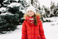 Girl in a red jacket in winter Stock Photos