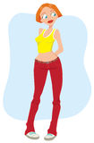 Girl in red jeans. And a yellow shirt Stock Illustration