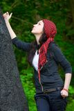 Girl in a red kerchief Stock Photos