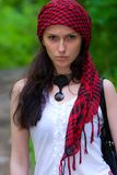 Girl in a red kerchief Royalty Free Stock Image