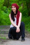 Girl in a red kerchief Royalty Free Stock Photos