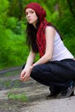 Girl in a red kerchief Stock Image